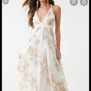 Floral Mesh Flowy Gown